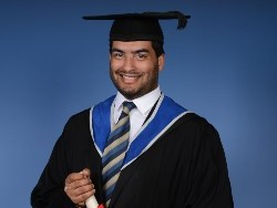 Student in graduating gown