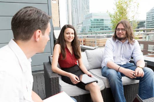 Students in london talking